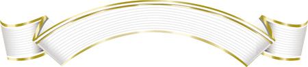 Vector illustration of white and gold elegant ribbon banner.