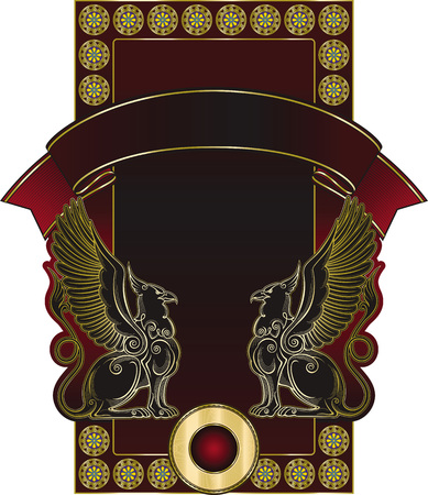 label frame: Vector template of unique richly decorated cognac or wine label with two griffins and banner on it.