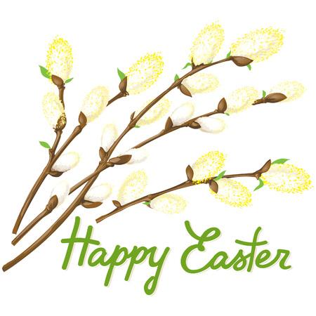Vector illustratie stelletje pluizig pussy-wilg gelukkige Pasen kaart.