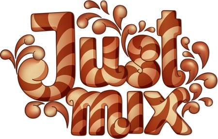 biege: Hand drawn lettering. Phrase Just Mix in cartoon style with volumetric elements. Striped beige and brown letters in a frame of the striped beige and brown liquid splashes.
