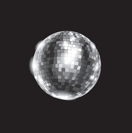 Black and white vector illustration: disco club mirror ball glitter ball. File is easy to edit. Illustration