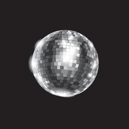 Zwart-wit vector illustratie: disco club spiegelbol glitter bal. File is gemakkelijk te bewerken.