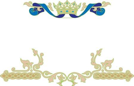floral border: Vector unique ornamental frame with crown