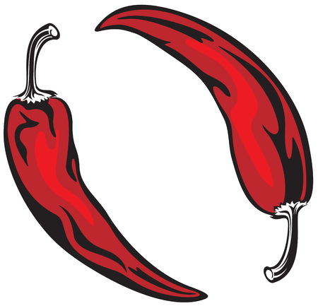Illustration of two hot chilly red peppers