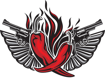 Tattoo style illustration with two red hot peppers, two guns, two wings and fire flame Vettoriali