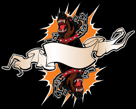 angry dog: Tattoo illustration faces of two savage angry dogs braking their chains and banner for inscription.