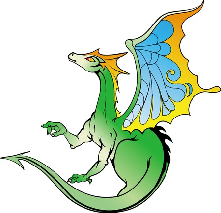 green dragon: Hand-drawn vector illustration of a fantasy character green dragon with colorful wings.