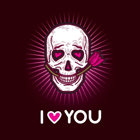 love confession: Gloomy and grim black and pink illustration card love confession with funny skull in love and inscription I love you.