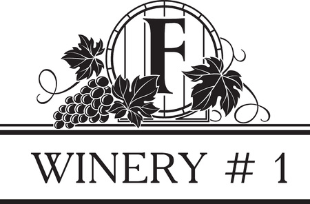 Vintage classic style logo template for winery or wine shop with image of barrel and grape bunch. Vector illustration. Illustration