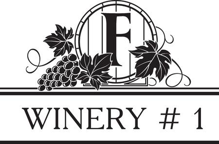 Vintage klassieke stijl logo sjabloon voor wijnmakerij en wijnwinkel met afbeelding van vat en tros druiven. Vector illustratie.