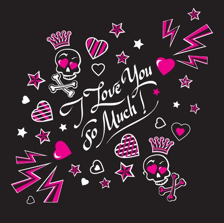 gloomy: Gloomy and grim black and pink illustration card love confession with funny lovers crowned skulls with crossbones and lettering I love you so much.