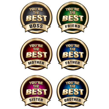 gold star mother's day: Set of vector funny gold shiny badges You Are The Best.