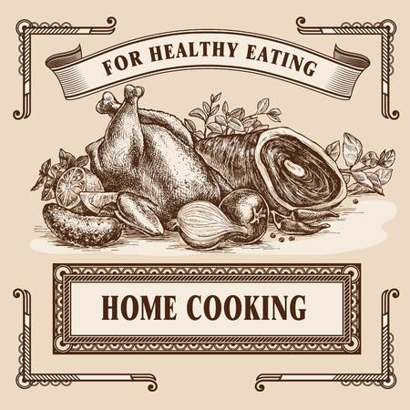 Hand drawn vector illustration still-life retro food advertisement layout design template.