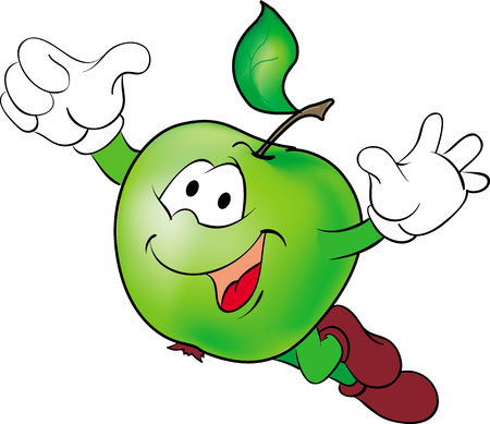 Vector illustration of flying funny cartoon hero green apple. Ilustração
