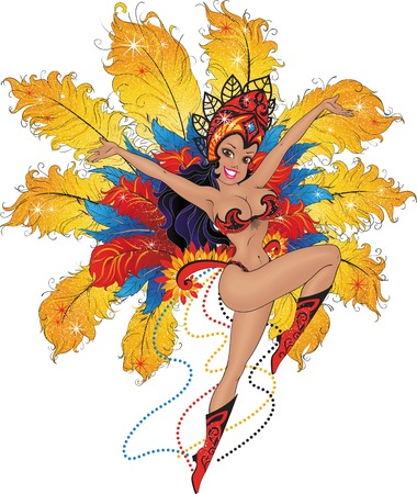 carnival costume: Vector cartoon illustration of a young girl dancer in bright costume of feathers on the Brazilian carnival.
