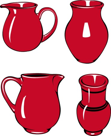 pitcher's: Vector illustration of four red pitchers of different shapes. Illustration