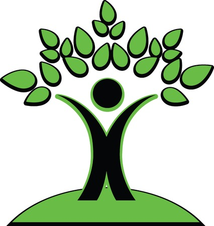 cleanliness: Vector illustration of the symbolic image of a man holding green leaves over his head looks like green tree. Logo or Icon on a theme ecology and ecological purity, environmental cleanliness.