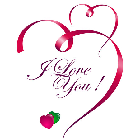 valentine card: I love you inscription. Vector illustration with drawn hearts. I love you. Valentine card. Romantic quote.