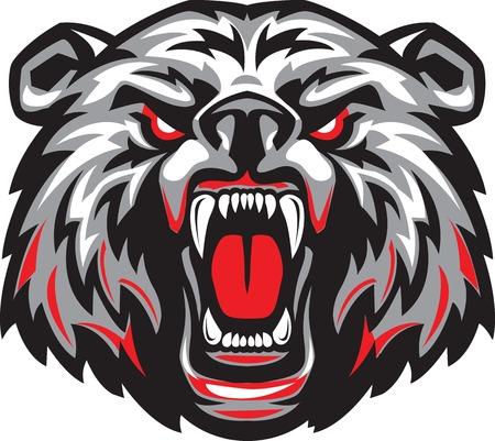 Vector illustratie van de woedende boze gezicht van de verschrikkelijke beer met open mond en vreselijke tanden.