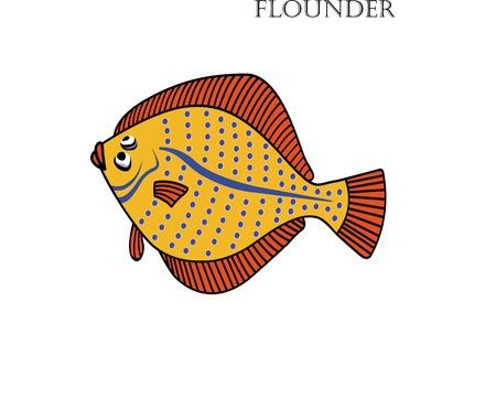Flounder cartoon vector illustration. Isolated Flounder fishes on white background. Illustration