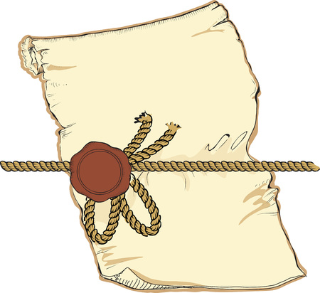 old parchment: Hand drawn retro style vector illustration frame looking like old parchment with seal.