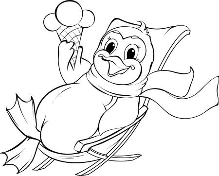 Vector zwart-witte illustratie van happy pinguïn zitten in een luie stoel met een ijsje.