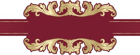Vector richly decorated ribbon frame in baroque style. Ilustração