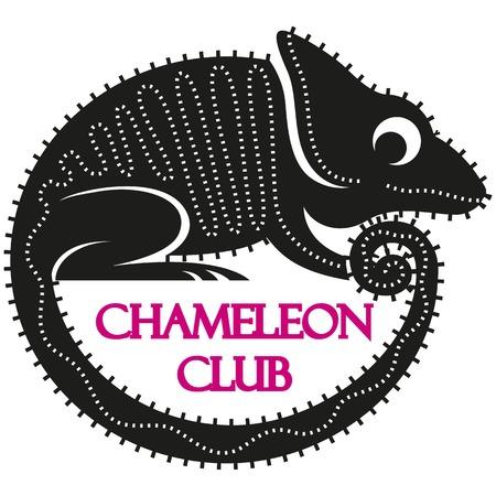 Vector illustration of funny black cartoon chameleon isolated on white background.