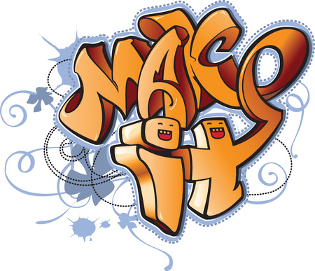 Vector emotional and bright cartoon urban graffiti style abstract illustration with inscription