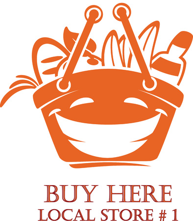 Fresh Food Shopping Logo design vector template. Illustration