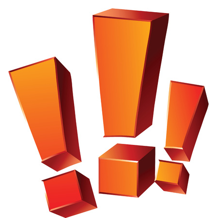 questions: Vector illustration of three 3-d emotional orange exclamation marks isolated on white background. Illustration