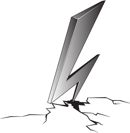 Vector cartoon black and white illustration of lightning hit and split the ground isolated from white background. Ilustrace