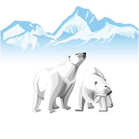 Vector illustratie van twee witte ijsbeer op een achtergrond van ijsbergen.