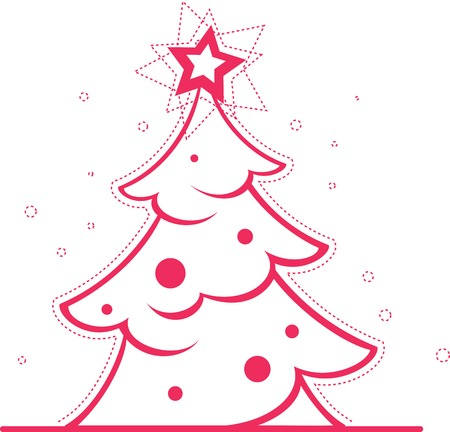 christmass tree: Vector illustration of simple glossy decorated Christmas tree isolated on background.
