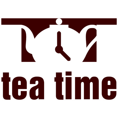 Tea logo icon vector illustration with teapot image with the clock on it.