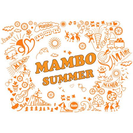 Ilustración del vector de la vaus atributos de vacaciones de verano en el estilo mambo. Relajación, danza, música, juegos de playa y una variedad de otros tipos de diversión de verano. Foto de archivo - 58032194