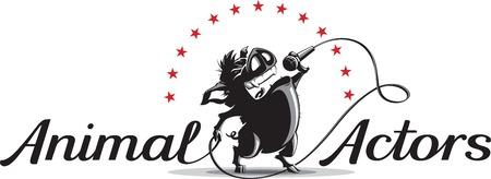 star cartoon: Vector la ilustración del modelo del logotipo con el canto de jabalí de dibujos animados en un micrófono con animales actores inscripción.