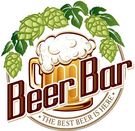 Vector illustration logo of beer pub bar.