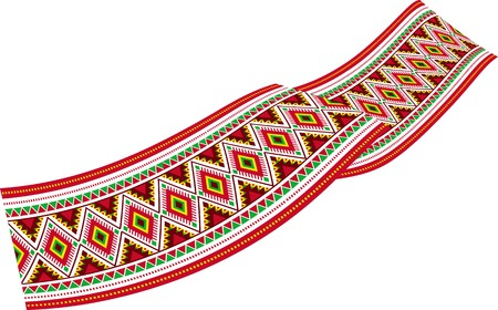polish lithuanian: Vector illustration of colorful ribbon - decoration with colorful Slavic ornaments.