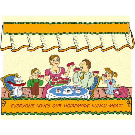 family eating: Vector cartoon illustration of family eating delicious sandwiches with sausage. Can be used as lunch meat advertising. Illustration