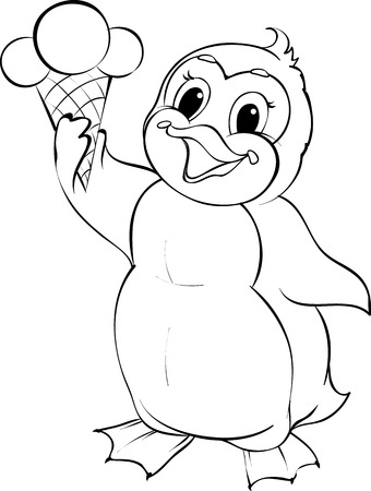 Vector black and white illustration of a penguin holding ice cream cone.