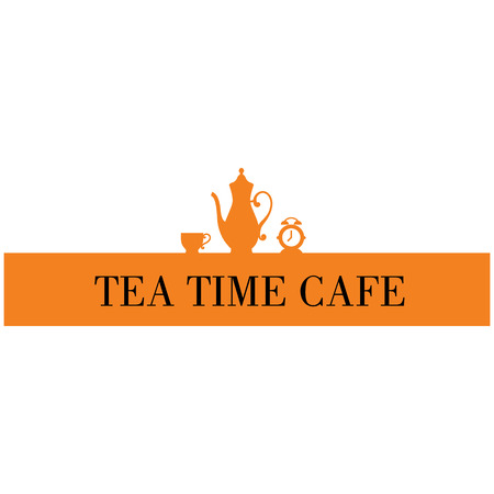 Tea logo icon, tea cafe logo vector illustration with teapot, tea cup and the clock images.