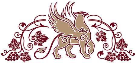 bird  celtic: Vector Illustration logo template for winery or wine shop or wine label element.
