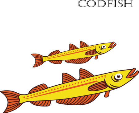 european anchovy: Codfish color cartoon vector illustration. Codfishes on white background. Illustration
