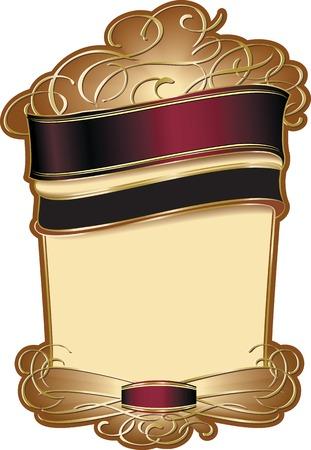Stijlvolle vector decoratieve wijn etiket sjabloon met gouden elementen. Stock Illustratie