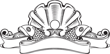 engravings: Vector illustration of vintage richly decorated banner on the marine theme. Seashell with a pearl in the center of the composition, two fishes on both sides of the banner. Can be used as a design element for wine, cognac, champagne label, etc.