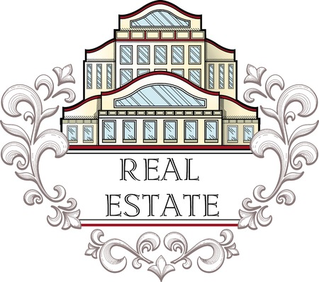 housebuilding: Vector illustration logo for company engaged in the construction and real estate sales. Illustration