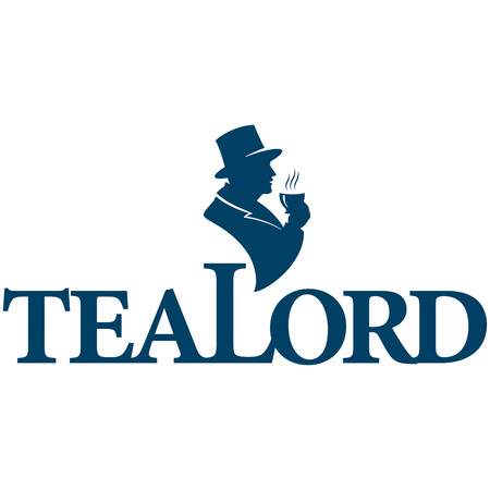 Tea logo icon vector illustration silhouette of an Englishman in a cylinder with a hot cup of tea in his hand.