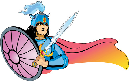 Vector illustration of a warrior character in waving cape in a viking style helmet holding a sword and shield. Can be used as sport mascot.
