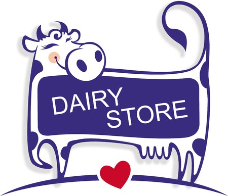 Vector illustration of a cute good cow. Template for banner, advertising or logo for dairy store, dairy company, or as element of packaging for dairy products.